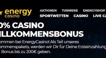 Energy Casino mit Top Bonus und erstklassige Spiele von Gamomat