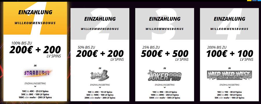 LVbet Willkommens Bonus bis 1000 Euro und 1000 Freispiele