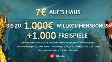 7€ Bonus ohne Einzahlung und bis zu 1000 Freispiele