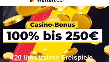 120 Umsatzlose Freispiele plus 250€ Bonus auf Wetten.com