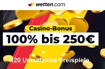 120 Umsatzlose Freispiele plus 250 Euro Bonus wetten