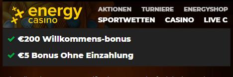 Energy Casino Bonus für Neukunden