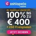 Cashiopeia bietet 1200€ + 250 Freispiele als Willkommensbonus an