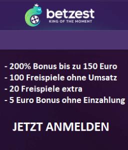 Betzest Casino 200 Prozent Bonus plus 100 Freispiele