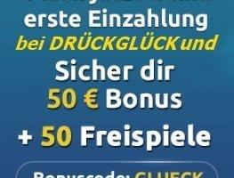 50€ und 50 Freispiele im DrückGlück nach Neuanmeldung erhalten