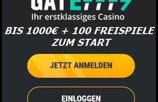 Gate777 Casino mit 1000€ Bonus und 100 Freispielen
