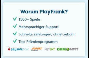 300€ Willkommensbonus und 200 Freispiele im PlayFrank Casino